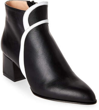 Racine Carree Black & White Pointed Toe Block Heel Booties