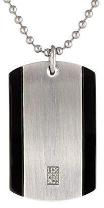 Stainless Steel Dog Tag Pendant with Diamond Accent & Plating (with 22'' ball chain)