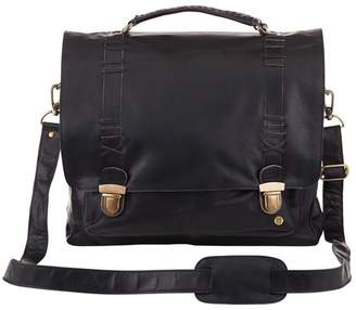 Mahi Leather Leather Classic Satchel Messenger Bag In Ebony Black