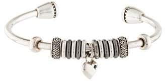 Links of London Diamond & Sapphire Heart Charm Cuff Bracelet