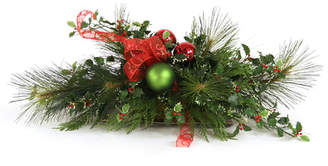 Distinctive Designs Artificial Holiday Centerpiece with Bow in Low Tray