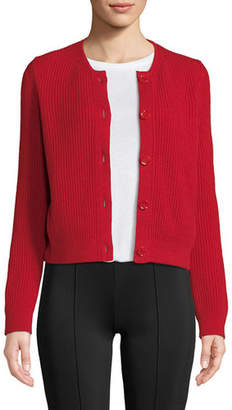 The Row Loulou Button-Down Cropped Cashmere Cardigan