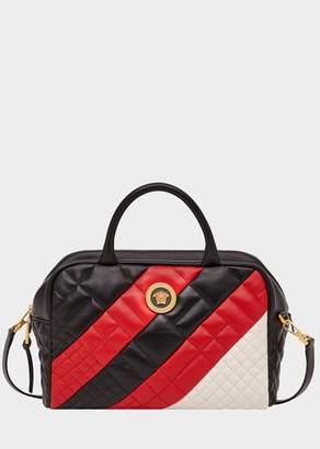 Versace Color Block Quilted Satchel Bag