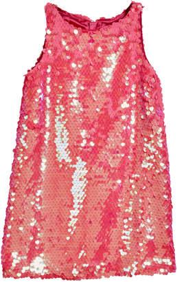 Milly Minis Paillettes Angular Sleeveless Shift Dress, Size 4-6