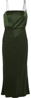 Topshop Silk-satin Midi Dress - Forest green