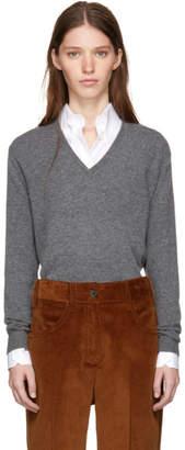 Prada Grey Lambswool V-Neck Sweater