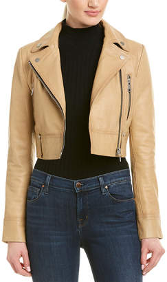 Bagatelle City Cropped Leather Biker Jacket