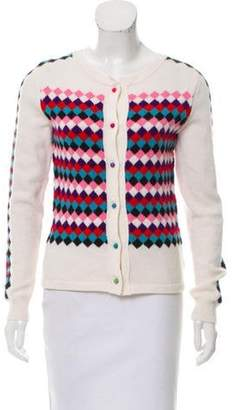 Olympia Le-Tan Diamond-Patterned Wool Cardigan multicolor Diamond-Patterned Wool Cardigan