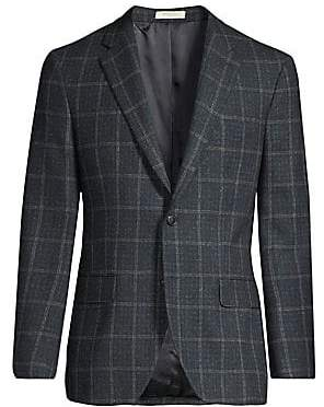 Boglioli Men's Tartan Wool, Silk& Linen Single-Breasted Jacket
