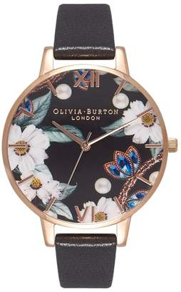 Olivia Burton Bejeweled Florals Leather Strap Watch, 38mm