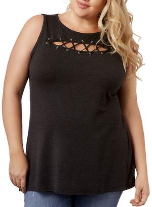 Belldini Lace-Up Keyhole Top - 100% Exclusive
