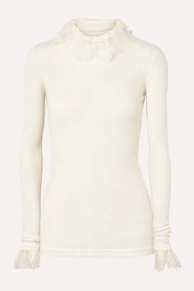 Philosophy di Lorenzo Serafini Lace-trimmed Ribbed-knit Turtleneck Top - Ivory