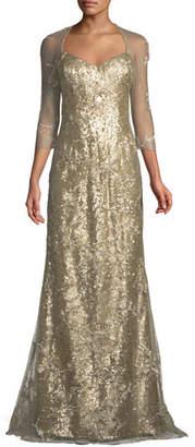 Rene Ruiz Mesh Three-Quarter Sleeve Spider Pattern Sequin Gown