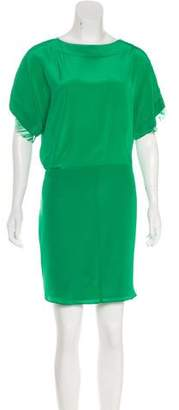 Michelle Mason Silk Lace-Trimmed Dress