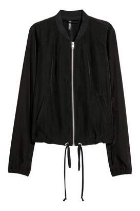 H&M Satin Bomber Jacket - Dark khaki green - Women