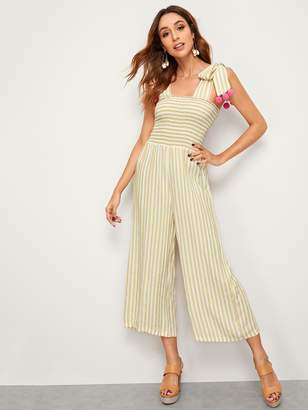 Shein Striped Knotted Strap Pompom Detail Shirred Jumpsuit