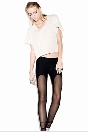 LnA Mesh Garter Leggings in Black Licorice