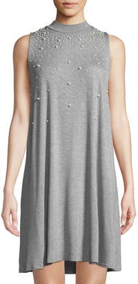 Neiman Marcus Mock-Neck Pearly-Trim A-line Dress