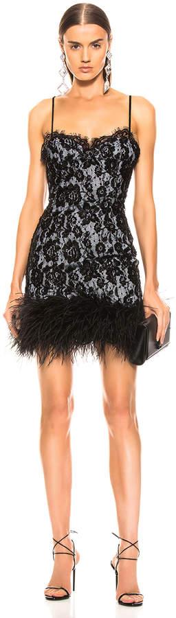 Dundas Ostrich Trim Embroidered Lace Slip Dress