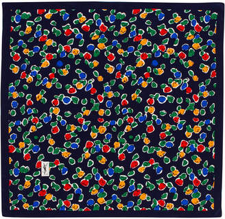 Saint Laurent Pariscarves Flowers Silk Square Scarf