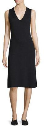 Vince Sleeveless Fit-And-Flare Ribbed Dress $375 thestylecure.com