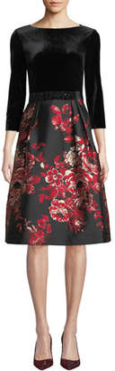 Rickie Freeman For Teri Jon Velvet & Floral Taffeta Combo Dress