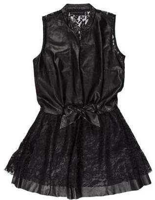 Elise Overland Leather Lace Trim Dress