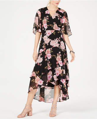 INC International Concepts I.n.c. Floral-Print Kimono High-Low Maxi Dress