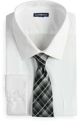 Croft & Barrow Big & Tall Classic-Fit Dress Shirt and Patterned Tie Boxed Set