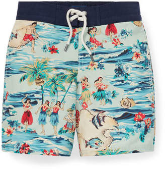 Trunks Ralph Lauren Childrenswear Sanibel Hawaiian Beach Swim Trunks, Size 2-4