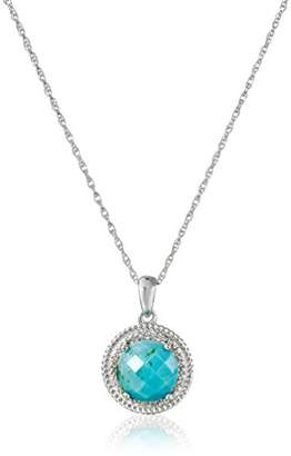 Sterling Turquoise and Diamond Accent Rope Pendant Necklace