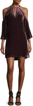 Trina Turk Draped Velvet Cold-Shoulder Cocktail Dress