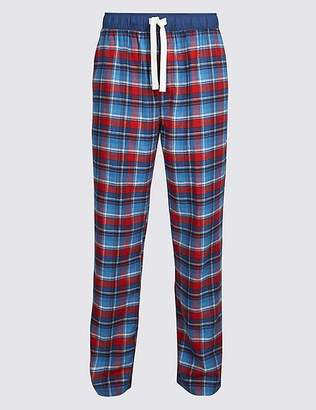 32124f9346 ... Marks and Spencer Brushed Cotton Checked Long Pyjama Bottoms