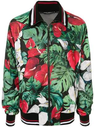 Dolce & Gabbana anthurium print bomber jacket