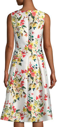Tahari ASL Floral-Print Mikado Fit-&-Flare Dress