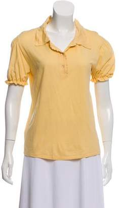 Miu Miu Pointed Collar Short Sleeve Top w/ Tags