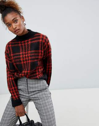 Bershka check print knitted jumper