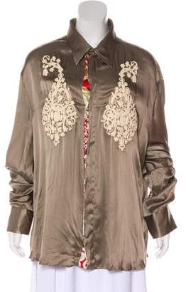 Just Cavalli Silk Satin Button-Up Top