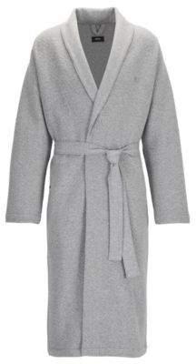 BOSS Hugo Herringbone-Knit Cotton Robe Contemporary Robe M Grey