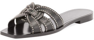 Saint Laurent Studded Flat Tribute Slide Sandal