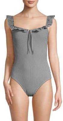 Ruffled Striped One-Piece Swimsuit