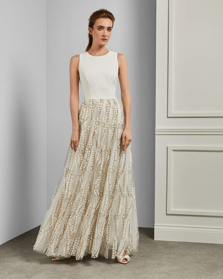 Ted Baker SILVYA Floral embroidered maxi dress with train 1a16b96b7