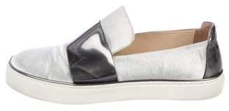 Stuart Weitzman Patent Leather-Accented Velvet Slip-On Sneakers