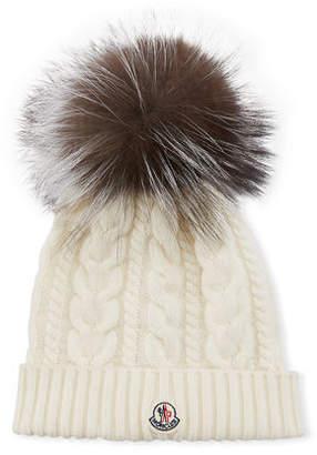 8061beaea55 Moncler Cable-Knit Beanie Hat w  Fur Pompom