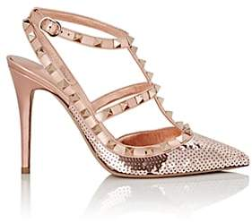 Valentino Women's Rockstud Sequined Leather Ankle-Strap Pumps - Gold