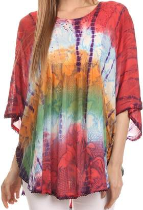Blue & Cream Sakkas 14031 - Ellesa Ombre Tie Dye Circle Poncho Blouse Shirt Top With Sequin Embroidery - Blue/Cream - OS