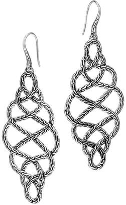 John Hardy Classic Chain Silver Braided Drop Earrings