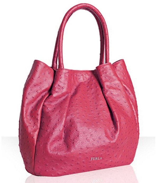 Furla fuchsia ostrich embossed 'Pompidou' shoulder bag