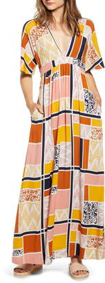 THE ODELLS Sienna Geo Print Empire Maxi Dress