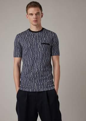 Giorgio Armani Stretch Viscose Jersey T-Shirt With Lettering Print